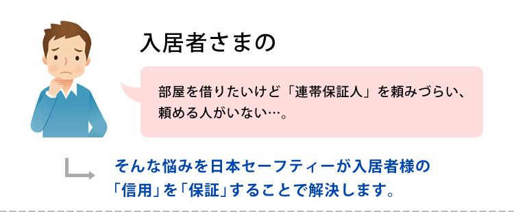 入居者さまの 部屋を借りたいけど「連帯保証人」を頼みづらい、頼める人がいない…。そんな悩みを日本セーフティーが入居者様の「信用」を「保証」をすることで解決します。